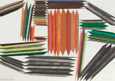 Cara plisada pensativa 2015 Mixta/papel 30,5 x 45,5 cm