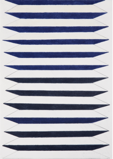 Plisado pequeño azul  2016 Lápiz de color/papel 30 x 21 cm