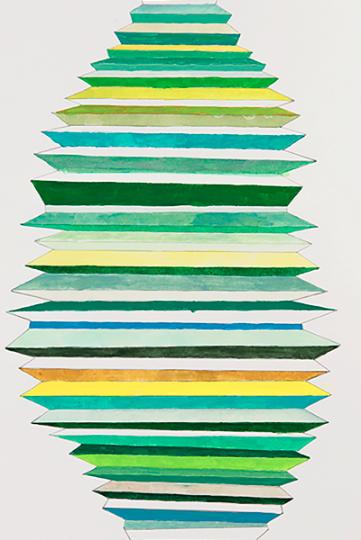 Plisado verde 2016 Lápiz de color/papel 45 x 30 cm