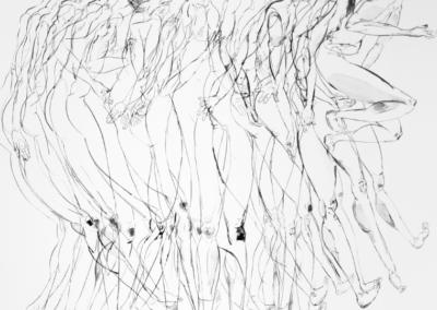 Personas plisadas 2016 Tinta china/papel 46 x 74,5 cm