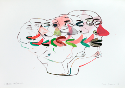 Cabeza relamida 2012 Mixta/papel 35 x 51 cm