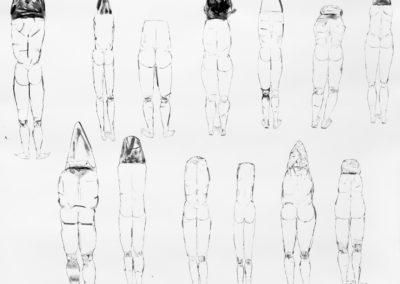 2015 Espaldas y montañas Mixta/papel  120x140 cm